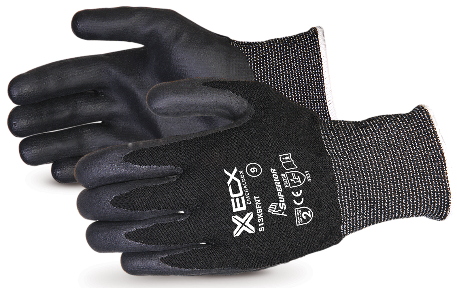 EMERALD CX NYLON/STAINLESS-STEEL CUT-RESISTANT STRING-KNIT GLOVE WITH NITRILE PALM